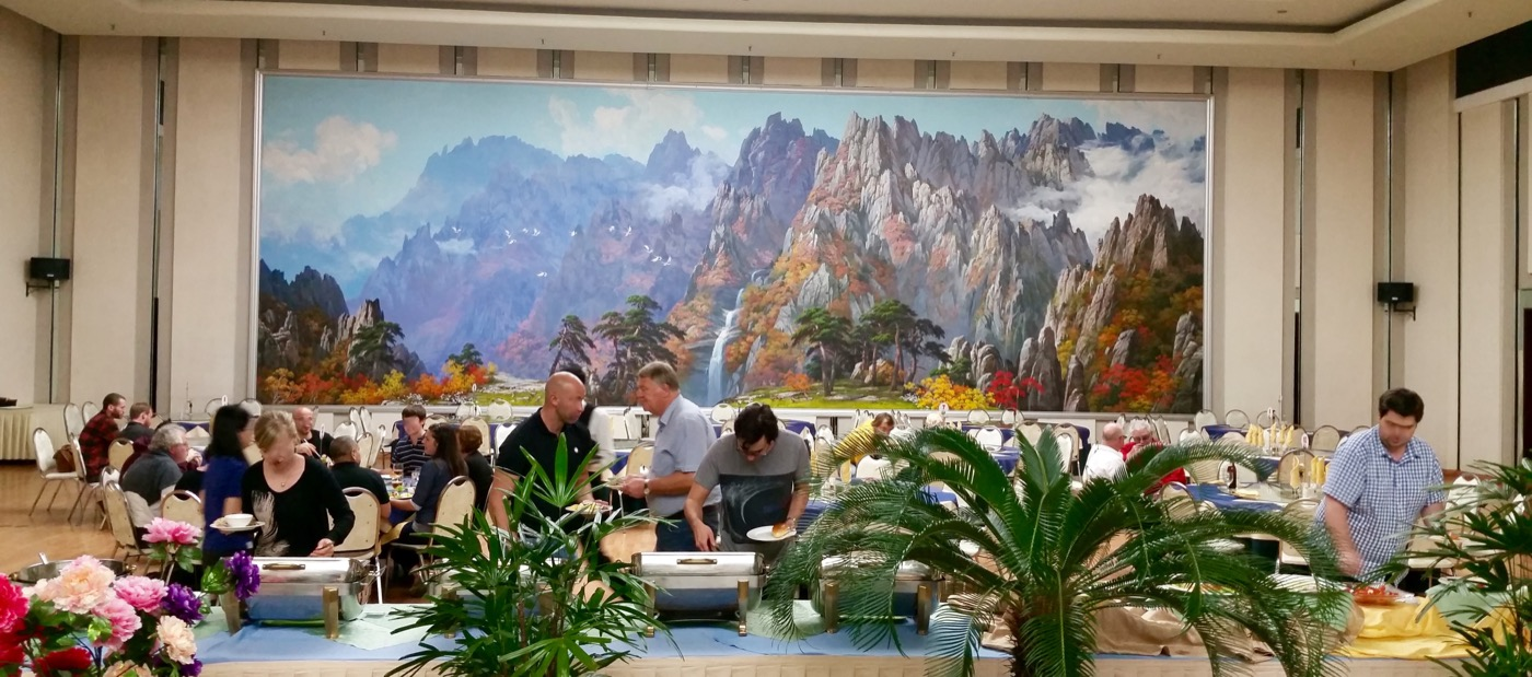 The yanggakdo hotel dining room. These incredible paintings of mountains are about as common as paintings of Kim Il-sung but way more impressive. I can only assume that it is Paekdusan/Mt. Paekdu, a site considered holy (in a purely secular sense) by Koreans.