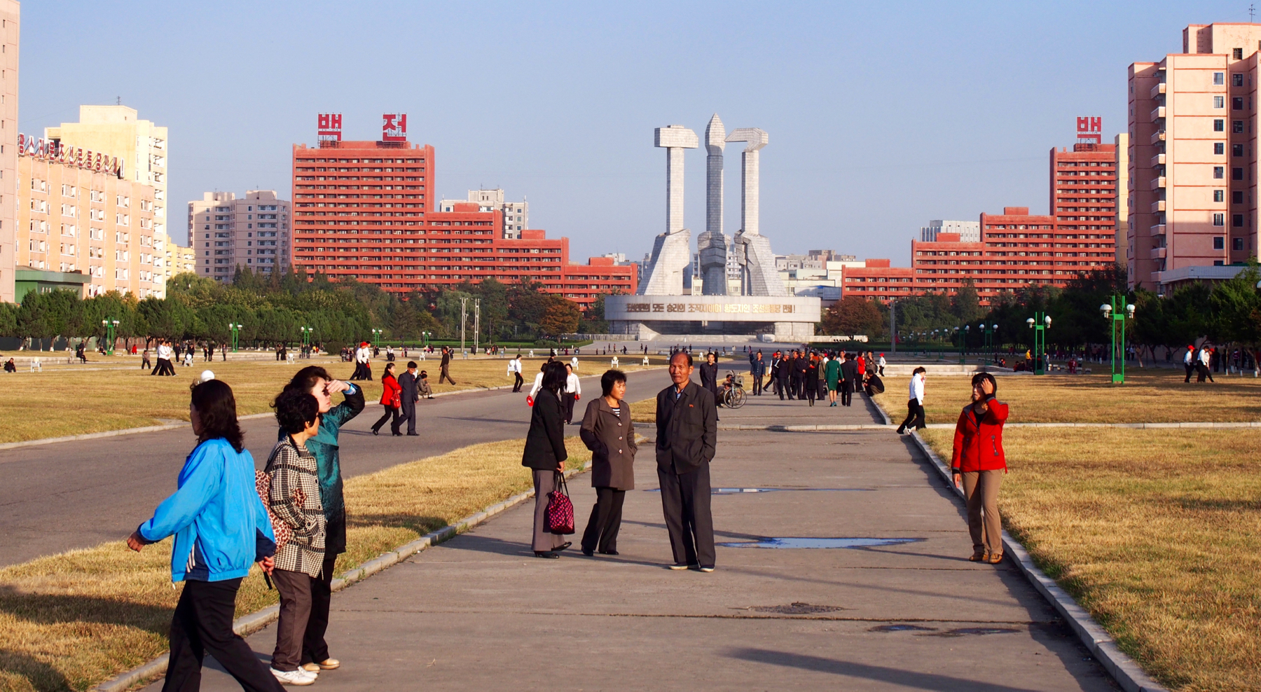 A beautiful day for a stroll in the park in front of the Workers Party Monument