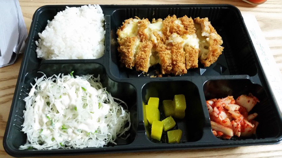 Donkatsu is a popular choice for takeout, and this one has cheese in it, too. Amazing.